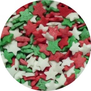 Посыпка Звезды красные,белые,зеленые 250 гр 15772