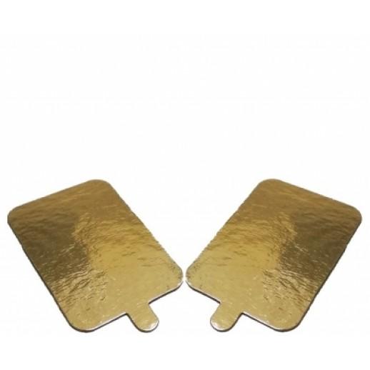 Подложка золото/картон прямоугольник 100*65 мм с ручкой 100 шт 64111