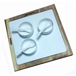 Подставка акац с фарф встав 3 соус с ложк Kunst Werk PL 99002819