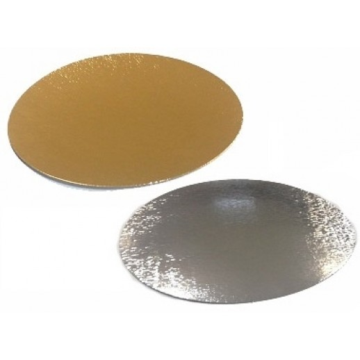 Подложка картон. круг №30 золото/серебро 64157, Подложки и подносы для тортов