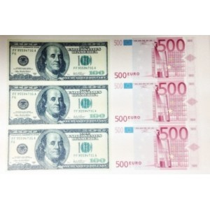 Вафельная картинка 100 $,500 ЕВРО 12267