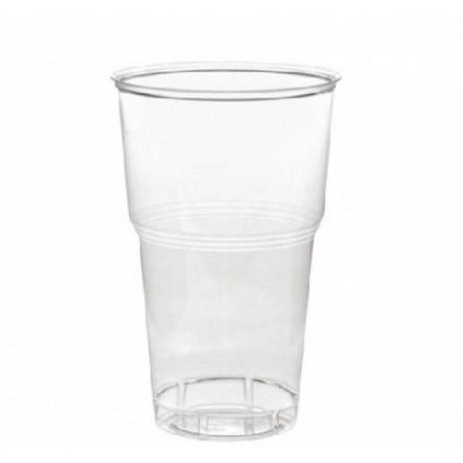 Стакан одноразовый 500 мл прозрачный плотный 50 шт 11439, Одноразовая посуда, пластиковые контейнеры