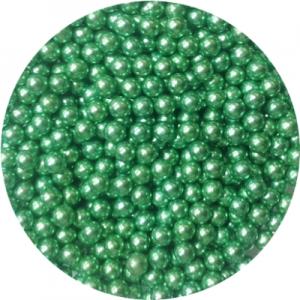 Шарики сахарные зеленые 5 мм блестящие 100 гр 33023