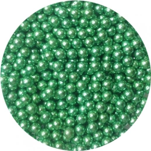 Шарики сахарные зеленые 5 мм блестящие 100 гр 33023, Украшения для торта, кондитерские посыпки