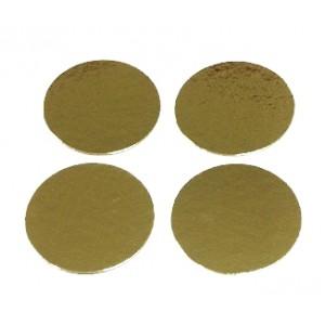 Подложка картон круг 7,5 см золото 100 шт 64174