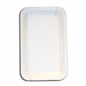 Тарелка картонная 100 шт 13*20 см ламинированная прямоуг белая 19-3100