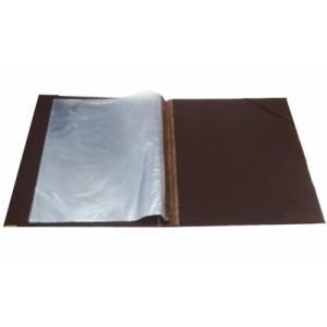 Папка-меню 32,5*24 2-х сторон кожзам бежевая съемные файлы