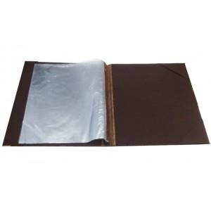 Папка-меню 32,5*24 2-х сторон кожзам-шелк коричневая съемные файлы