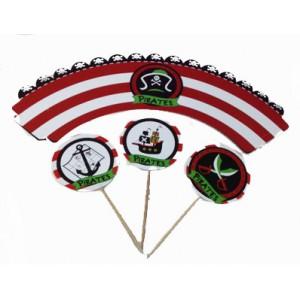 Декоративная форма для маффинов+топпер 6 шт Пираты