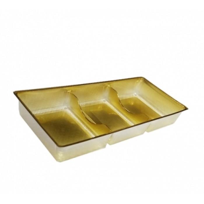 Контейнер 3-х секционный для пирожных и конфет 17,5*7,5*2,5 см ИП-3, Одноразовая посуда, пластиковые контейнеры