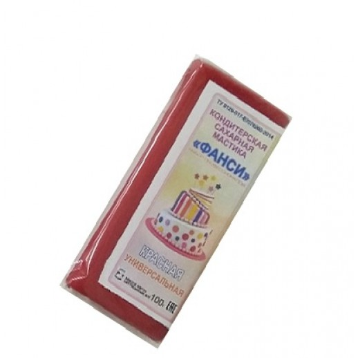 Мастика 0,1 кг сахарная красная универсальная ФАНСИ, Сахарная мастика для торта