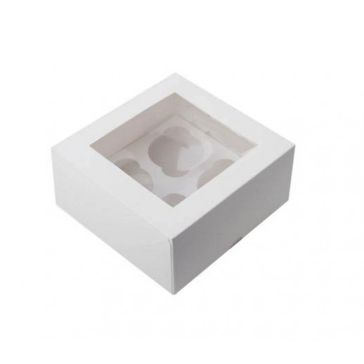 Упаковка для капкейков на 4 шт ОКНО 160*160*100 мм, Тортницы, коробки для торта и пирожных