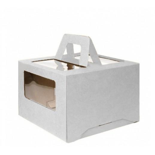 Короб картонный 30*30*20 см БЕЛЫЙ прозрачное окно 6014, Тортницы, коробки для торта и пирожных