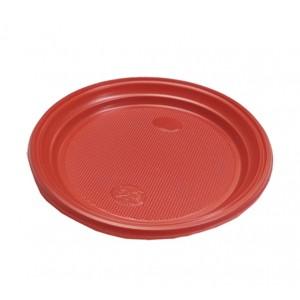 Тарелка одноразовая пластик 20,5 см КРАСНАЯ 100 шт