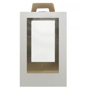 Короб картонный 25*25*40 см БЕЛЫЙ прозрачное окно 555531