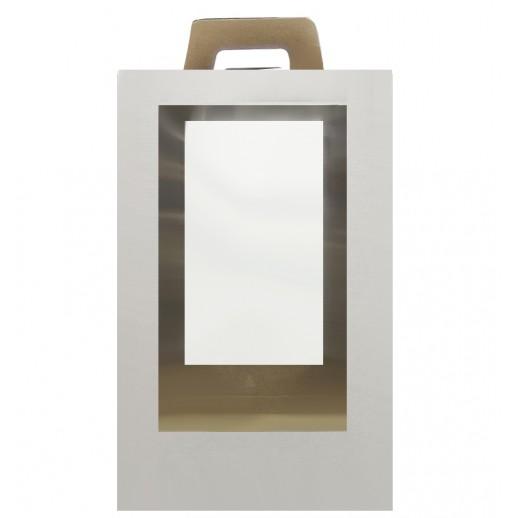 Короб картонный 25*25*40 см БЕЛЫЙ прозрачное окно 555531, Тортницы, коробки для торта и пирожных
