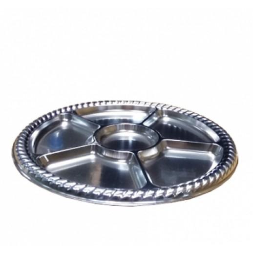 Менажница пластик 5 секций d 30,5 см серебро 1 шт PL 8121129, Одноразовая посуда, пластиковые контейнеры