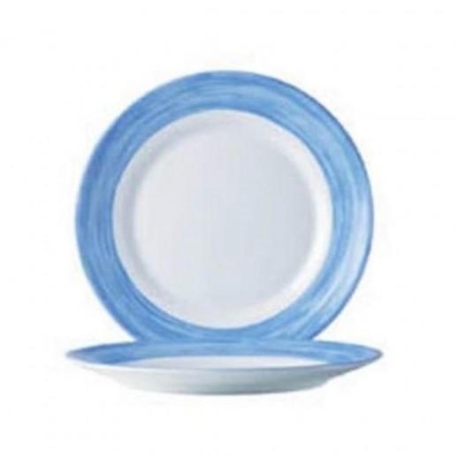 Браш Тарелка d 25,4 см голубой край, Посуда из стеклокерамики