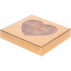 Упаковка для конфет СЕРДЦЕ с окном ЗОЛОТО 160*160*30 мм 050003