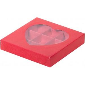 Упаковка для конфет СЕРДЦЕ с окном красная 160*160*30 мм 050007
