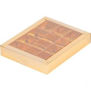 Упаковка для конфет с прозрачной крышкой ЗОЛОТО 190*150*30 мм 050320