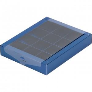 Упаковка для конфет с прозрачной крышкой синяя 190*150*30 мм 050330