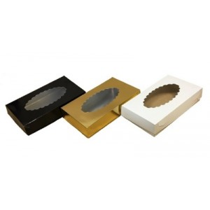 Упаковка для эклеров с окном черная 240*140*50 мм 080104