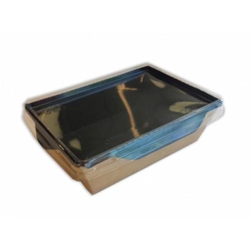 Упаковка ECO OpSalad 400 Black Edition 140*100*45 мм, Картонная упаковка, бумажные крафт пакеты