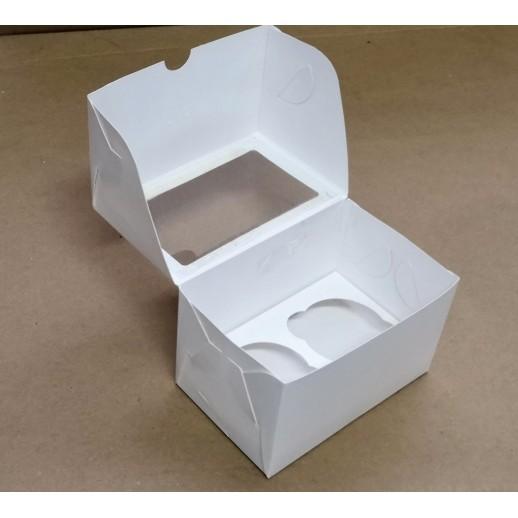 Упаковка для капкейков на 2 шт ОКНО 100*160*100 мм, Картонная упаковка, бумажные крафт пакеты