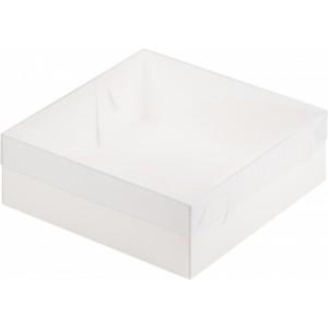 Упаковка для торта с пластиковой крышкой 200*200*70 мм белая 070260