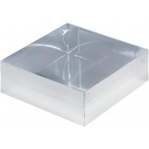 Упаковка для торта с пластиковой крышкой 200*200*70 мм серебро 070261