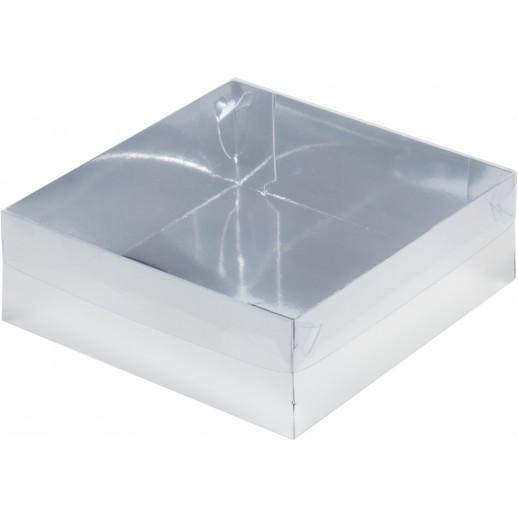 Упаковка для торта с пластиковой крышкой 200*200*70 мм серебро 070261, Тортницы, коробки для торта и пирожных