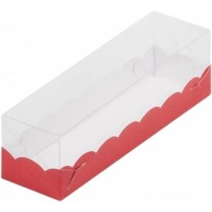 Коробка для макаронс с пластиковой крышкой 190*55*55 мм красная 080231
