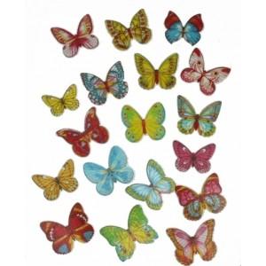 Бабочки вафельные цветные 10 шт 27232