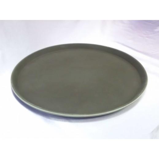 Поднос прорезиненный круглый 40 см коричневый