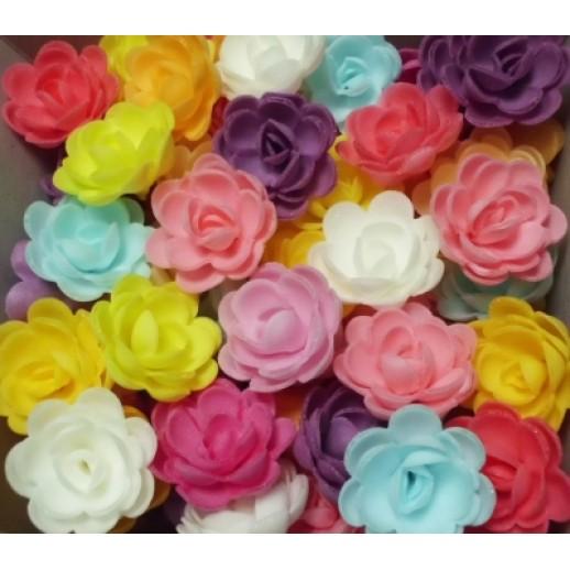 Вафельный цветок РОЗА 10 шт 8927, Украшения для торта, кондитерские посыпки