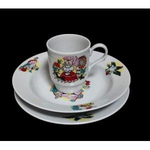 Набор посуды тарелка 200 мм, тарелка 200 мм глуб, кружка 210 мл Кошкин дом