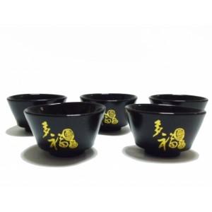 Набор чашек черн с золотом 5 шт