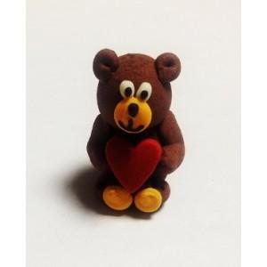 Сахарная фигурка Мишка с сердцем 1 шт