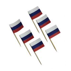 Пика 6,5 см Флаг России бамбук 100 шт OPTILINE 10-1156