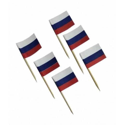 Пика 6,5 см Флаг России бамбук 100 шт OPTILINE 10-1156, Украшения для коктейлей и канапе, трубочки