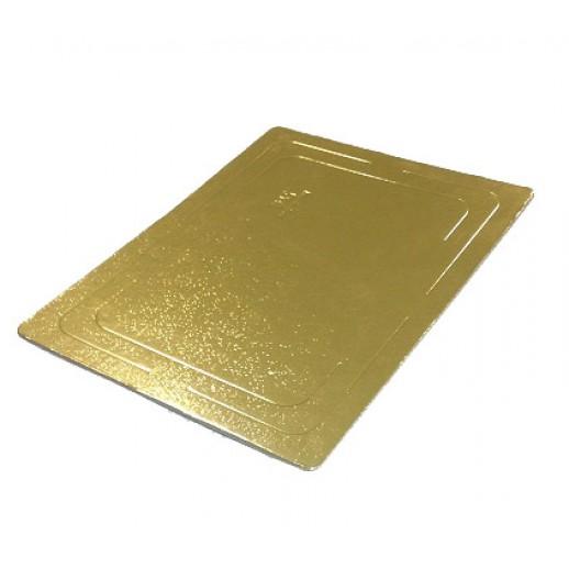 Подложка усилен золото/жемчуг прямоуг 300*400мм (толщ3,2мм) GWD300*400, Подложки и подносы для тортов