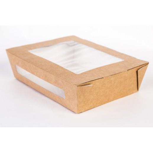 Упаковка ECO SALAD 1000 190*150*50 мм, Картонная упаковка, бумажные крафт пакеты