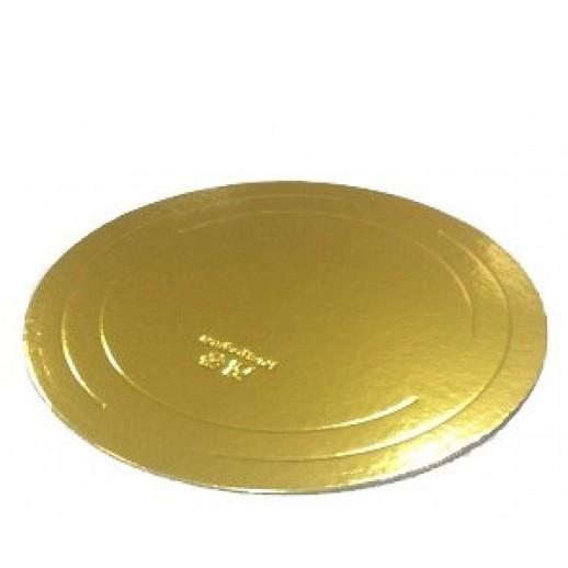 Подложка усилен золото/жемчуг 240мм (толщ3,2мм) GWD240, Подложки и подносы для тортов
