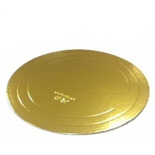 Подложка усилен золото/жемчуг 260мм (толщ3,2мм) GWD260, Подложки и подносы для тортов