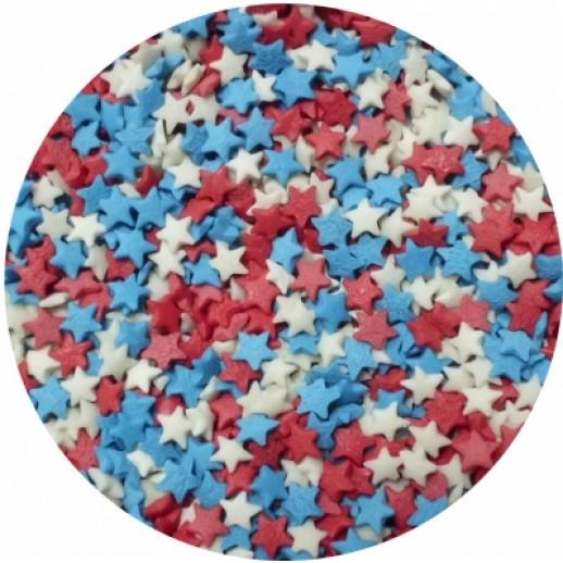 Посыпка Звезды красные белые синие 250 гр 15796, Украшения для торта, кондитерские посыпки