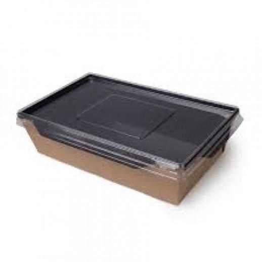 Упаковка ECO OpSalad 1000 Black Edition 200*140*55 мм, Картонная упаковка, бумажные крафт пакеты