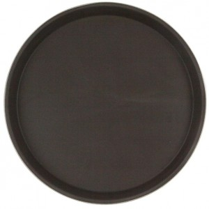Поднос прорезиненный круглый 40 см черный 1600