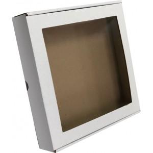 Короб картонный 24*24*4,5 см БЕЛЫЙ прозрачное окно 3361