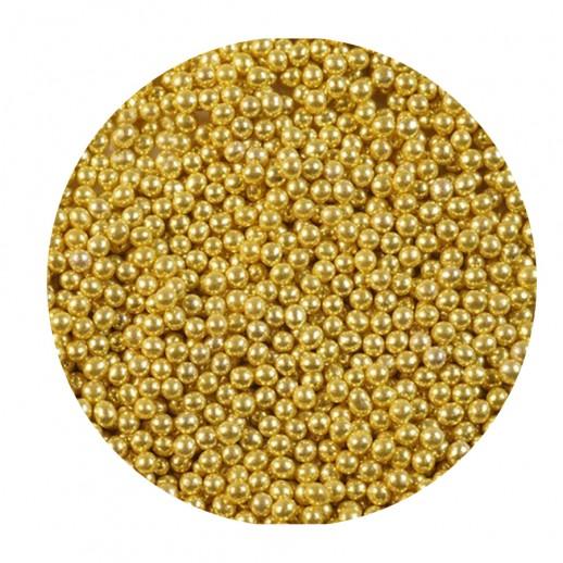 Шарики сахарные золотые 1 мм 100 гр 33153, Украшения для торта, кондитерские посыпки